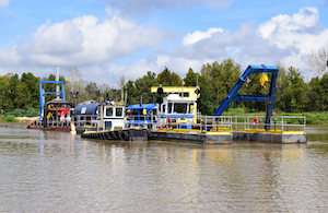 Dredging a lake in Texas