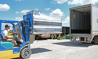 Loading a dock kit onto a truck for free shipping