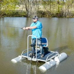 One-man fishing pontoon boat